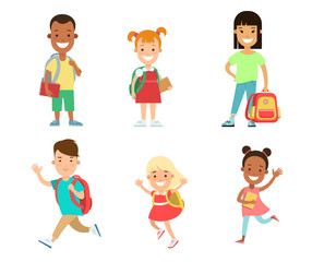 Happy children flat character vector set. Kids education