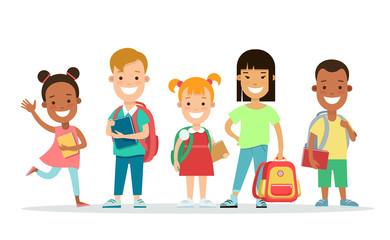Happy children flat character vector set. Kids education