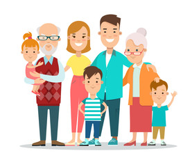 Flat Family portrait vector illustration. Life cycle concept.