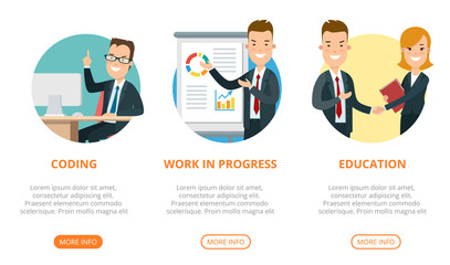 Flat page web design template vector. Business team interface