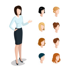 Flat isometric head face types woman hair style constructor vector