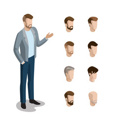 Flat isometric head face types man hair style constructor vector