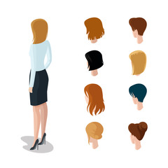 Flat isometric head types woman hair style constructor vector