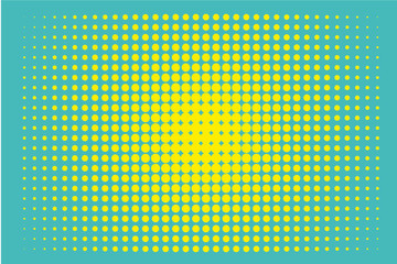 Halftone background. Digital gradient. Dotted pattern with circles, dots, point small scale. Green, yellow color