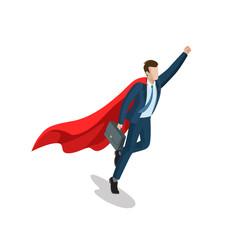 Flat isometric businessman superhero red cloak business vector