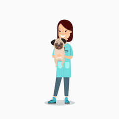 Flat veterinarian female doctor caring pet pug dog veterinary clinic