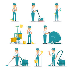 Professional cleaning service people cleaner flat vector icons