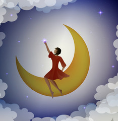 girl sitting on the moon and touching the star,