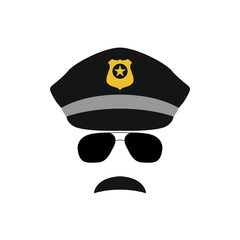 Police officer avatar illustration. Trendy policeman icon in sunglasses. Vector illustration.