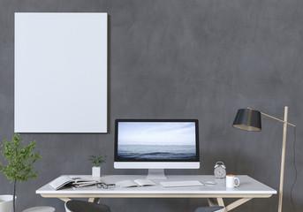 Mockup blank poster on a concrete wall with Desktop computer on the desktop. 3D render.