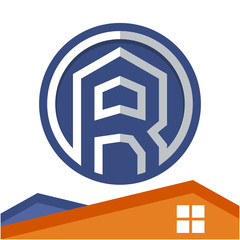Circle logo icon for business development of construction services, with the initial of the letter R