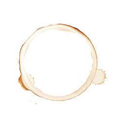Round coffee stain isolated