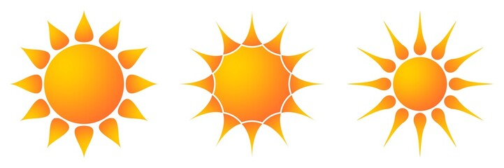 Sonne und Sonnenstrahlen als Vektor, Cartoon und smiley in 3 Varianten auf einem weißen isolierten Hintergrund