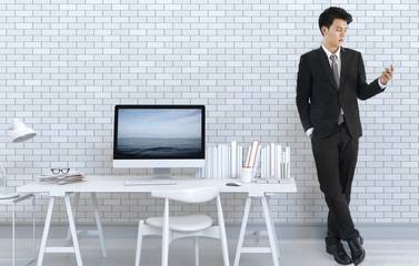 3D rendering of interior modern living room with desk and laptop computer and businessman wearing a black suit holding smartphone.