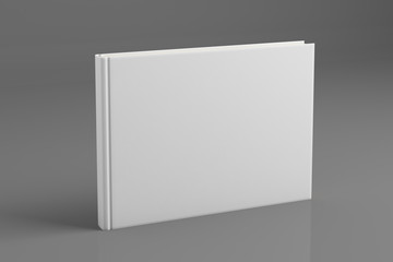 Empty white book on gray background