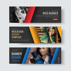 Design of vector black banners with diagonal colored lines and a place for photos.