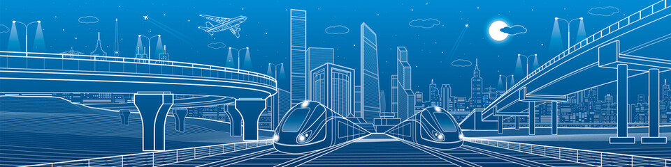 Train is riding at railroad. Transport overpass. Urban infrastructure, modern city on background, industrial architecture. White lines illustration, night scene, vector design art