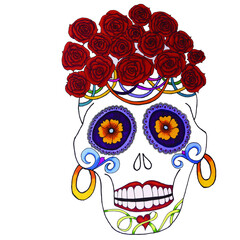 Mexican Sugar Skull with Roses