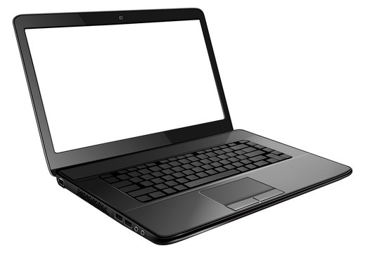 Laptop computer isolated with empty screen