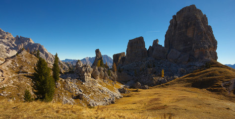 Rocky formation Cinque Torri, Dolomites, Italy