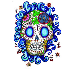 Mexican Sugar Skull with Water