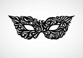 Black and white isolated masquerade mask