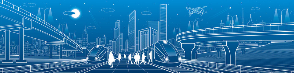 Trains riding on railroad. Passengers at station. Transport overpass. Urban infrastructure, modern city on background, industrial architecture. White lines illustration, town scene, vector design art