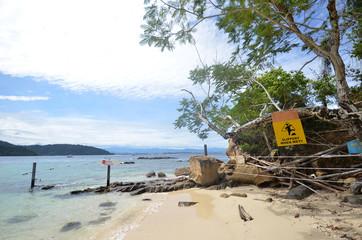 Beach in Sapi Island, Sabah Malaysia.