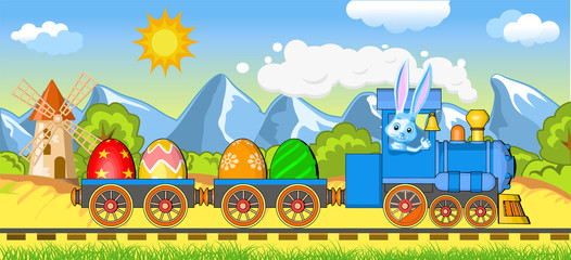 easter steam locomotive wagon load eggs beautiful landscape mountains clouds trees bushes mill hare driver picture postcard greeting wallpaper picture