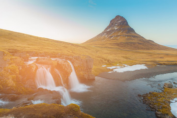 Kirkjufell volcano with waterfall, Iceland natural landscape background