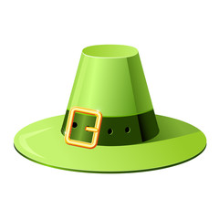 Pilgrim hat with buckle - icon in retro style on white background