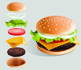 Hamburger and it's parts vector illustration with white background - sesame bun, beef steak, cheese, tomato, onion, salad with special sauce