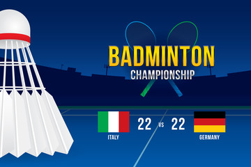 Badminton tournament design with players and scoreboard.