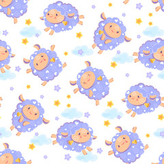 Seamless pattern of counting cute sheep to fall asleep. Cartoon happy jumping sheep with stars and clouds for baby clothing. Vector background digital paper for print