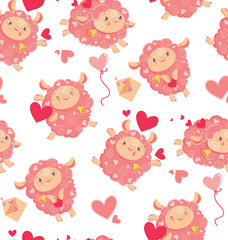 Seamless pattern of loving cute sheep for a Valentines day. Cartoon happy jumping sheep with hearts and love letters and baloons for holiday package paper. Vector background digital paper for print