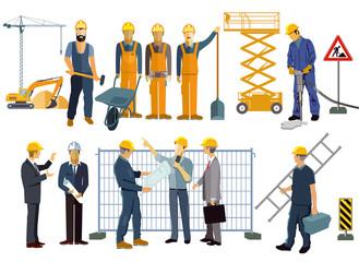 Baustelle mit Handwerkern und Architekten