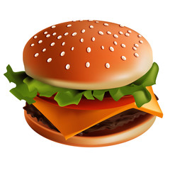 Hamburger vector illustration with white background - sesame bun, beef steak, cheese, tomato, onion, salad with special sauce