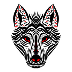 Wolf face tribal tattoo design