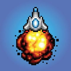 spaceship pixel art Illustration of spaceship blasting off and flying