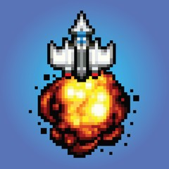 comic space rocket ship - pixel art Illustration of spaceship blasting off and flying