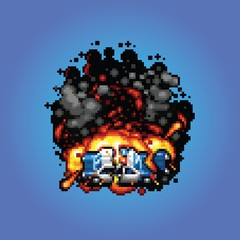 police car explosion - vector pixel art style illustration