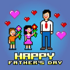 Father's day card - pixel art style layers vector
