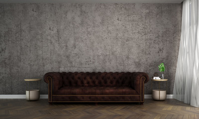 The interior design idea concept of minimal living room and concrete wall patern background