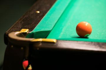 Billiards ball near hole