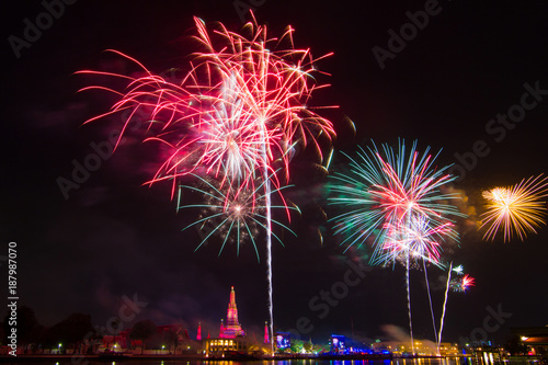 blurred fireworks bangkok thailand happy new year 2016