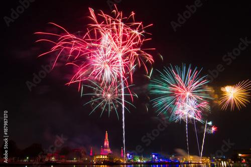 blurred fireworks bangkok thailand happy new year 2016