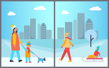 Families Activities in City Vector Illustration