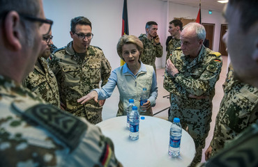 German Defence Minister Ursula von der Leyen speaks to German military personnel as she visits the German contingent at the Al Azraq air base in Jordan