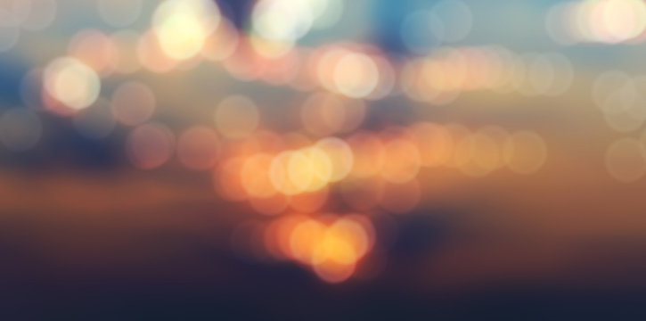 panorama, blurry abstract background with bokeh effect, sunset and sunrise