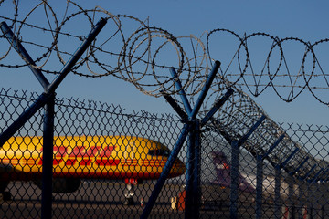 DHL Air Boeing 757-236(SF) G-BMRD aircraft is seen at the Chopin International Airport in Warsaw